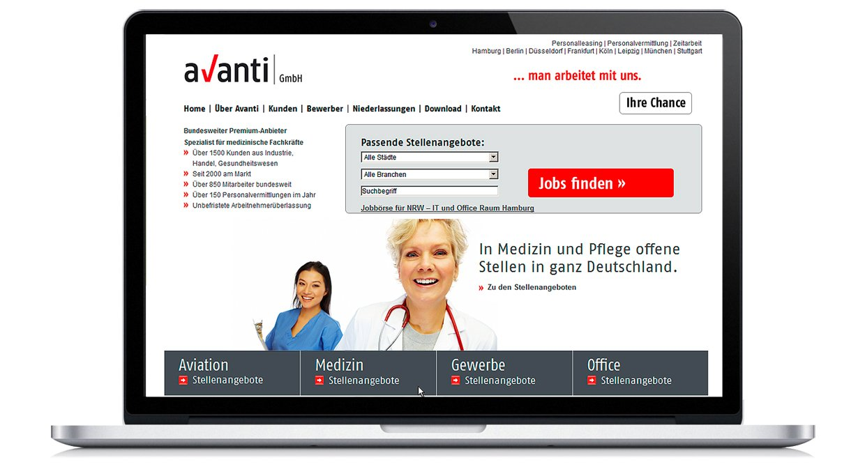"""Interface Design der Homepage für die Personalberatung """"Avanti"""""""