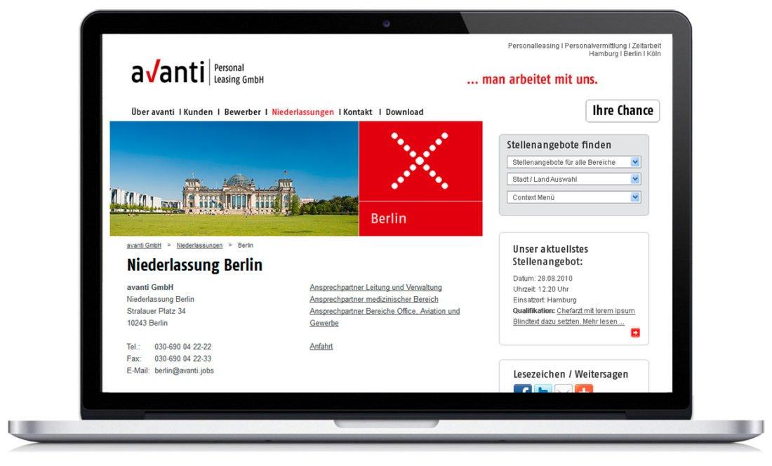 """Branding und Webdesign für die Personalvermittlung """"Avanti"""""""