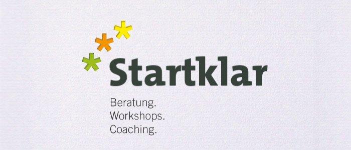 Logodesign für Startklar Beratung - Workshop - Coaching. Gestaltung einer Wort-Bildmarke.