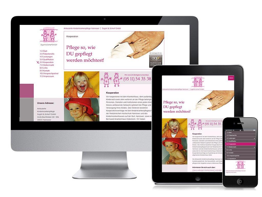 Responsive Webdesign für die Ambulante Kinderkrankenpflege