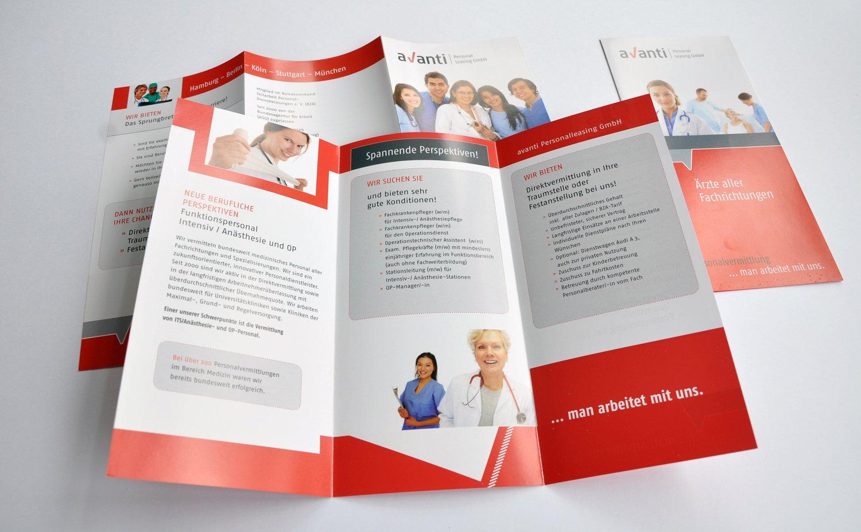 Flyer für den Personalvermittler für medizinische Berufe.