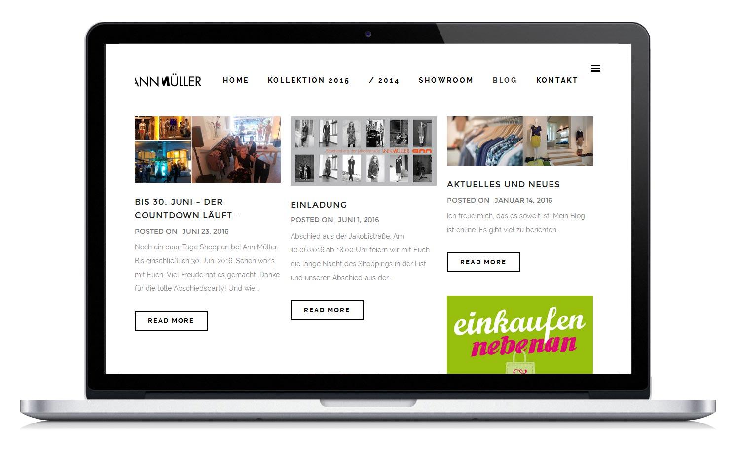 Homepage - Blog - für die Modedesignerin Ann Müller aus Hannover.