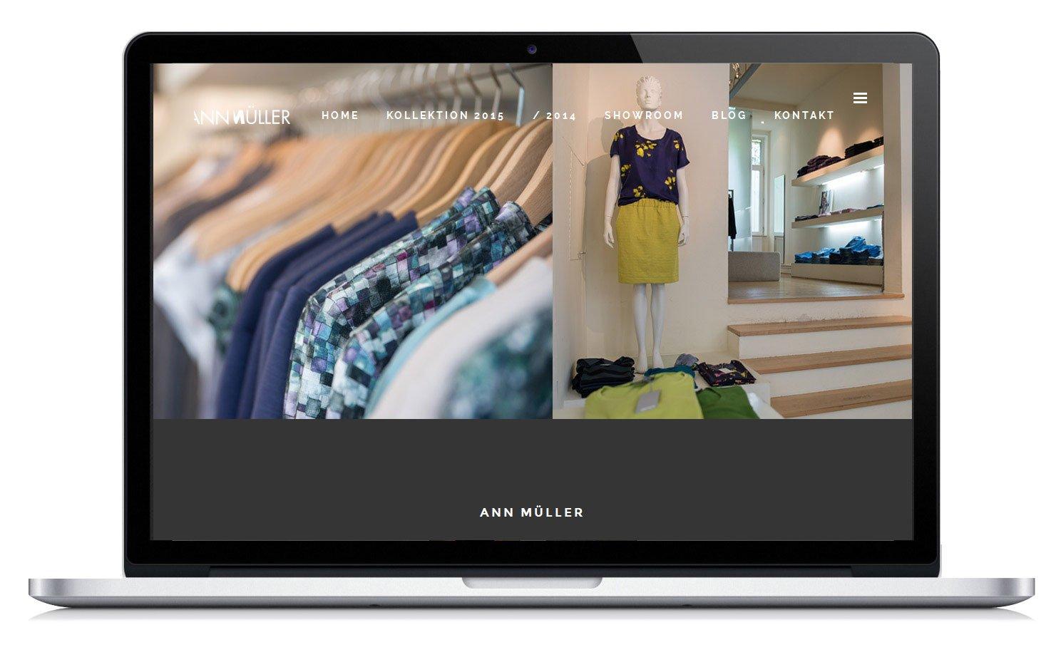 Homepage Gestaltung und Umsetzung für die Modedesignerin Ann Müller. Ansicht Showroom.