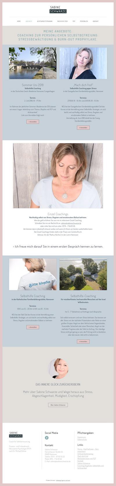Neue Homepage gestalten - Hier die Angebotsseite von Frau Schwarze, Coach für Selbsterneuerung.