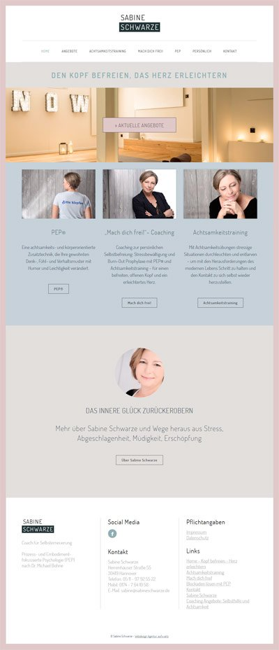Als Coach braucht man eine gute Website. Das ist Website für Frau Schwarze. Sie ist Coach für Selbsterneuerung.