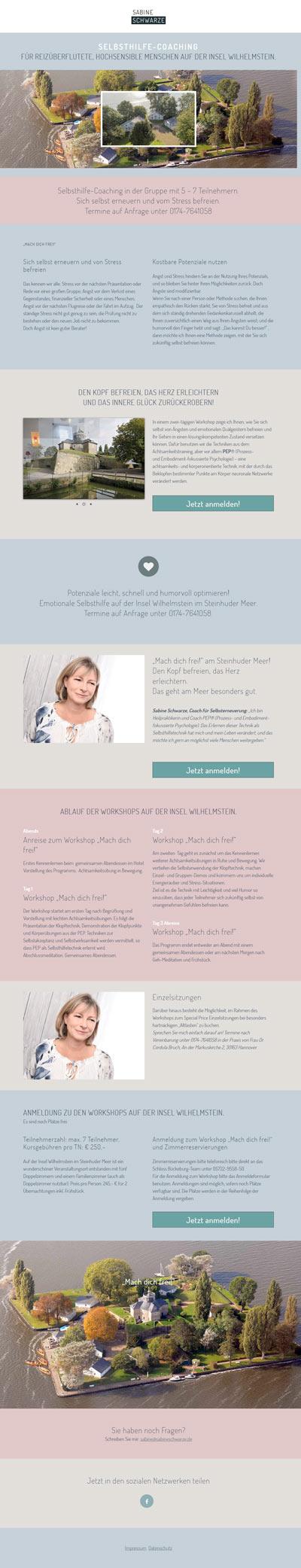 Landingpage für die Vermarktung eines Workshops auf der Insel Wilhelmstein.