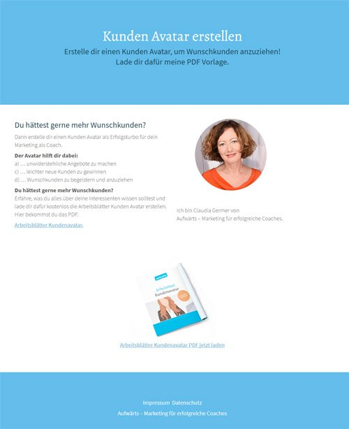 Dafür gibt es das PDF Kundenavatar kostenlos zum Download auf dieser Seite: