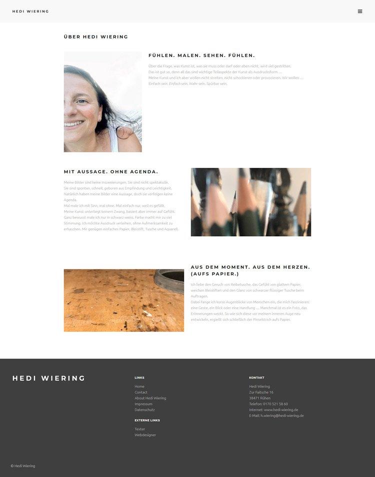Webdesign für Hedi Wiering, Künstlerin