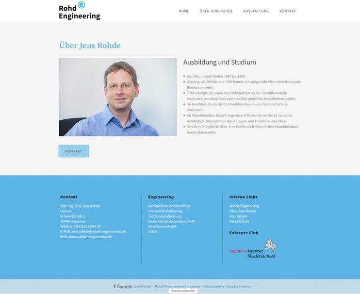 Webdesign für Jens Rohde, Maschinenbau Ingenieur aus Hannover.