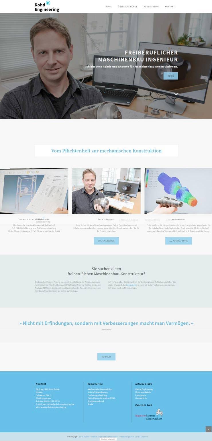 Homepage Planung, Design und Umsetzung mit Wordpress für den Maschinenbau Ingenieur aus Hannover