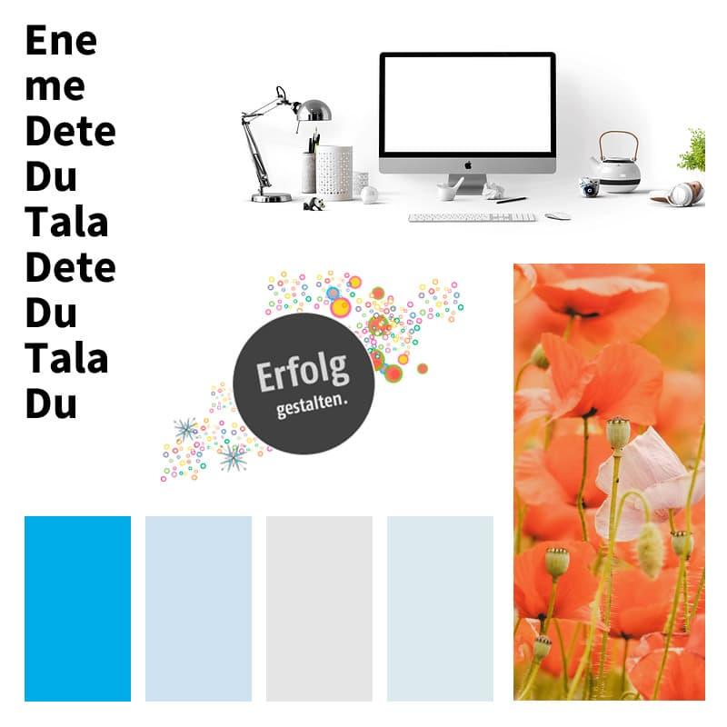 Stimmungsboard / Moodboard: Technisch kühl und gleichzeitig weiblich und kreativ. Clean und klar mit viel Weiß.