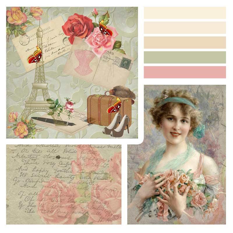 Beispiel Stimmungsboard - Moodbard: Vintage, feminin, weich, romantisch, verträumt, blumig, gute alte Zeit