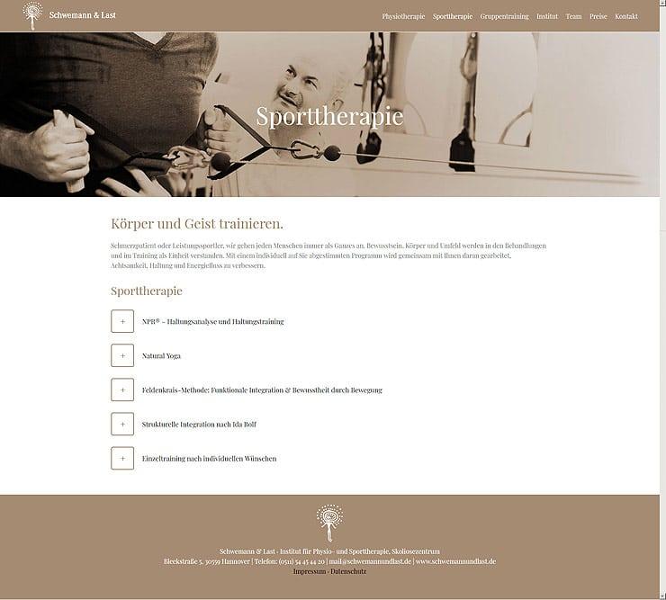 Praxis für Sporttherapie - Website Wordpress