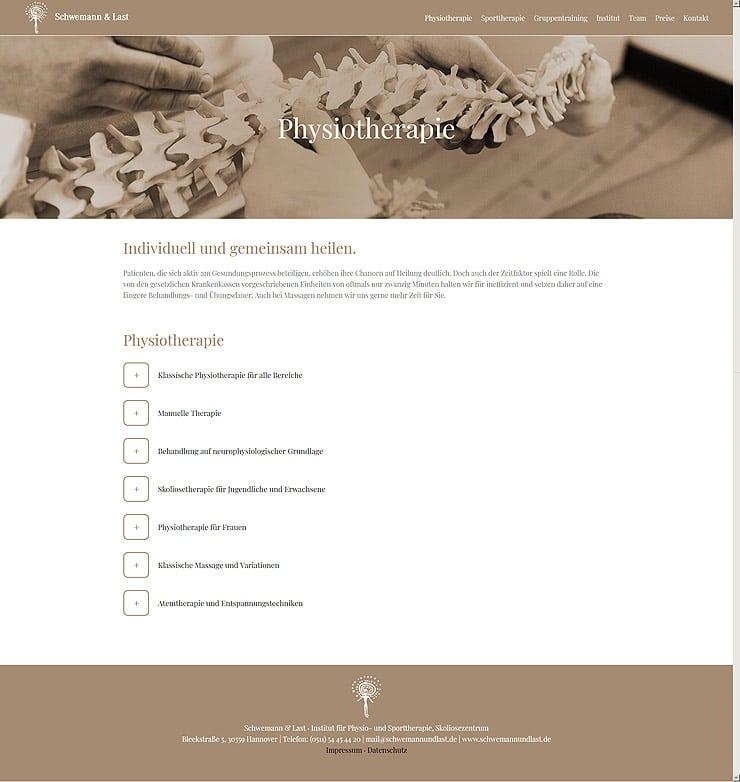 Physiotherapie - Wordpress Website für die Praxis