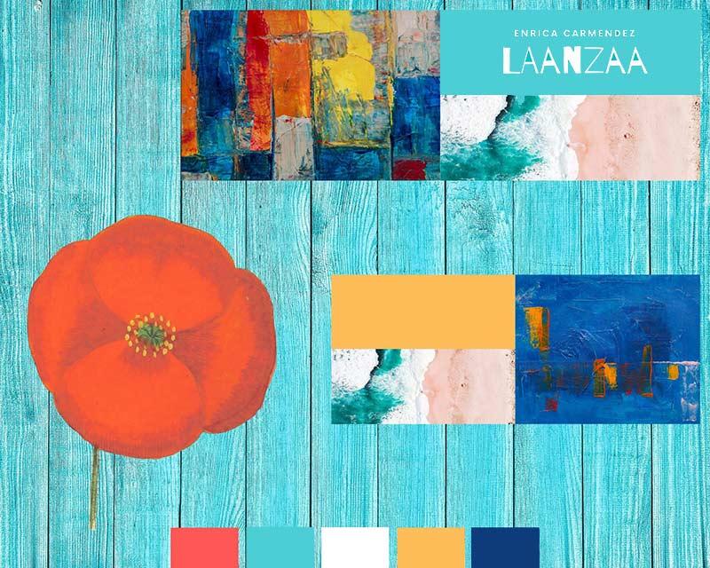 Beispiel für ein Moodboard. Finde im Moodboard-Workshop die richtigen Farben + Bilder für dein Business und heb (dich) ab!